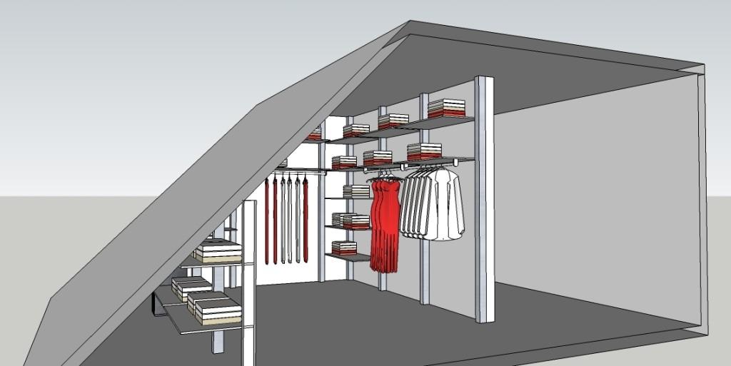 49 . Inrichten slaapkamer met schuin dak : Modulaire inloopkast ...