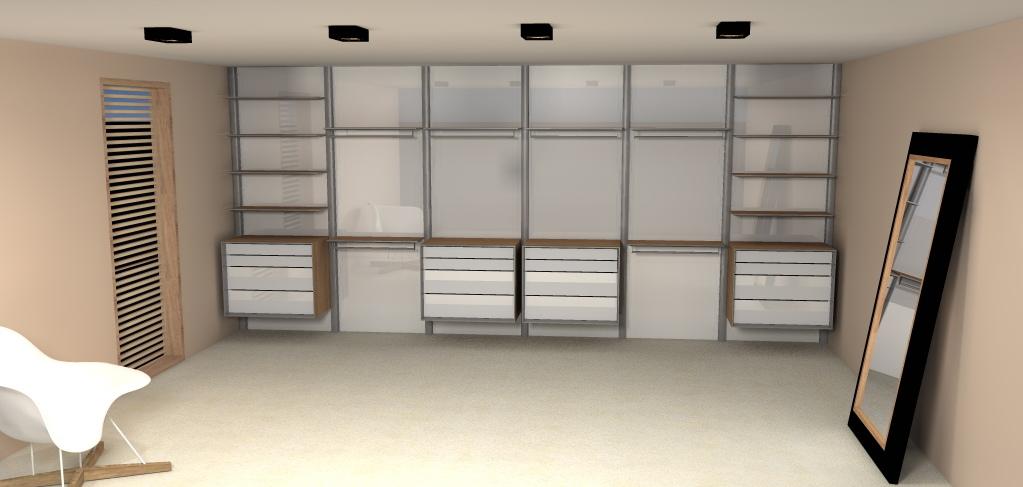 Dress a way inloopkasten inbouwkasten en dressings op maat for Inloopkast ontwerpen